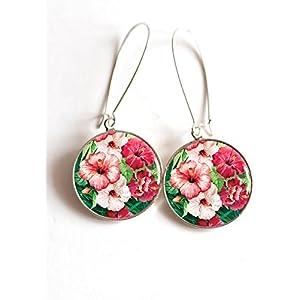 Ohrringe cabochon die tropischen hybicus fushia Blumen und Rose