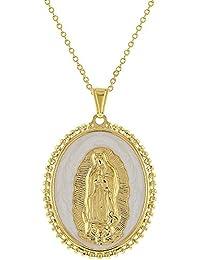 30e9154d870ba In Season Jewelry - Pendentif Collier - Plaqué or 18k - Médaille Religieux  - Notre-
