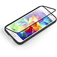 JAMMYLIZARD | Samsung Galaxy S5 Mini Silikonhülle 360 Grad Schutzhülle Silikon Case Backcover Hülle und Displayschutz Flip Cover Komplett-Handyhülle, Schwarz