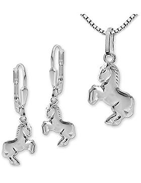 CLEVER SCHMUCK-SET Silberne Ohrhänger Pferd springend 12 mm, passender Anhänger und Kette Venezia 40 cm STERLING...