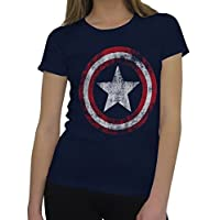Captain America Distressed Logo Women's T-Shirt- Classic Medium Blue