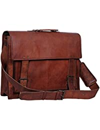 Passion Leather 18 Inch Retro Leather Briefcase Laptop Messenger Bag