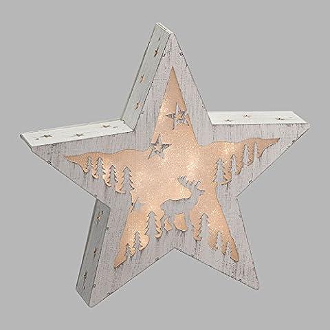 Estrella de madera, paisaje iluminado, 30 cm, 10 LED luz cálida, estrella de Navidad, decoraciones luminosas a pilas