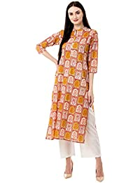 Gulmohar Jaipur Women's Straight Cotton Printed Kurta Pant Set (Green)