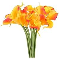 Arancione Calla Giglio Fiore Artificiale, NNIUK Vero Tocco Calla Fiori Di Giglio Artificiali Per Casa Di Cerimonia Nuziale Decorazioni Al Chiuso e All