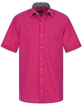 ETERNA Herren Kurzarm Hemd Comfort Fit Uni Popeline pink mit Patch 1129.58.K147 (41, Pink)