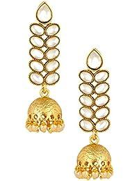 The Jewelbox Long Stylish 18K Gold Plated Kundan Pearl Dangle Jhumki Earring Girl Women Gift Ganpati Pooja Ganesh...