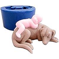 ➣ Moule en silicone pour l'utilisation d'artisanat avec la fonte d'un bébé nouveau-né endormi sur un chien - également adapté pour les bougies