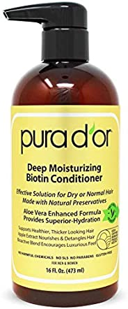 PURA D'OR Deep Moisturizing Conditioner Treatment for Dry Damaged Hair, Softens & Smooths, Infused with Organic Argan Oil &