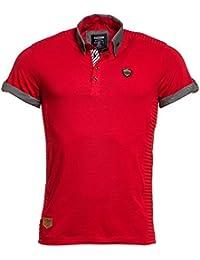 BLZ jeans - Polo rouge nervuré