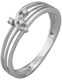 Silvernshine 0.02 Cts Round Cut D/VVS1 Three Stone Engagement Ring In 14KT White Gold Over