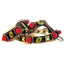 Arnés para Perro Pequeño y Chihuahua con Pulsera | Cuero Negro | Bonitas Rosas Rojas con Hojas Verdes