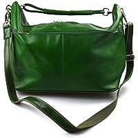 b6bba37afc Borsone uomo donna borsa viaggio con manici e tracolla vera pelle verde  borsa palestra borsa aereo