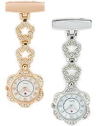 SEWOR elegancia diamond Flower señorías colgante reloj de bolsillo Rosegold & Sliver 2pcs con marca de piel caja de regalo