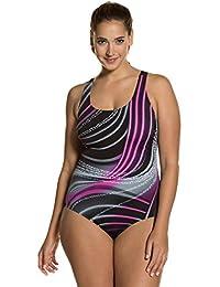 6b3e9491378d Ulla Popken Damen große Größen bis 56   Badeanzug, Badekleidung   bunt,  Wellen-