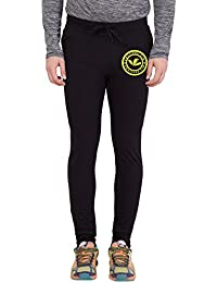 American-Elm Black Printed Track Jogger for Men