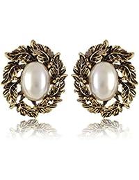 Shining Diva Fashion Black Metal Stud Earrings for Women(White)(SDF1450er)
