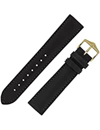 Hirsch Merino Nappa Leather Watch Strap with Buckle in Black (16mm M, Gold Buckle)