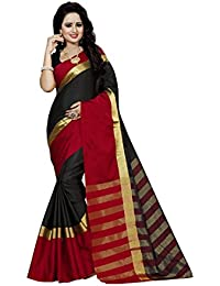 FAB BRAND Self Design Cotton Silk Black Color Saree For Women With Blouse Piece