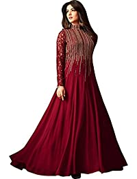 Monika Silk Mill Women's Latest Maroon Color Festival Wear Party wear Embroidered Wedding Collection Gown Style Anarkali Salwar Suit Dress Materials