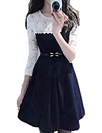 JULEE Women's Lace And Crepe Western Wear Dress (Blue And White)
