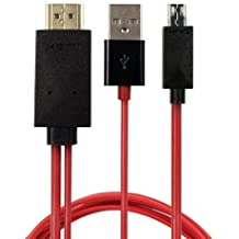 Tesco 6.5 pies mhl 11 pin Micro USB a HDMI cable adaptador 1080P HDTV para Samsung Galaxy, Note, Galaxy Tab, Galaxy Note (rojo)