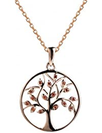Rose Gold Multi Petal Tree Of Life Necklace In 925 Silver- By Ornate Jewels