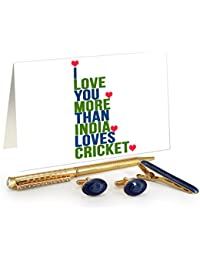 TiedRibbons® Creative Valentine Gifts For Him Golden Cufflinks,Tiepin And Pen Combo Set With Valentine's Special...