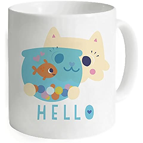okoukiu Cute Cartoon gatto e pesce Mug tazza -3,7