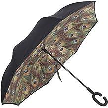 Paraguas de Reversa de Doble Capa Paraguas Invertido con Diseño de Cerrado del Interior hacia Fuera