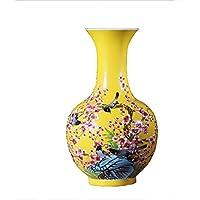 SLH Amarillo Chino hogar Sala de Estar Decoraciones artesanales pintadas a Mano Botella de Porcelana jingdezhen
