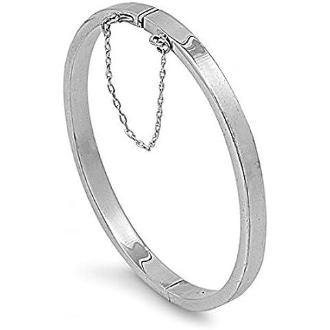 925 Sterling Silver 5x55x60MM forma ovale rettangolo tubo BRACCIALI