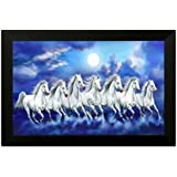 SAF 6783 Seven Running Horses||vastu Painting For Home And Office||Seven Lucky Running Horses Painting || 7 Horses Painting ||seven Horses||vastu Horses||Shyam Art 'N' Frame Exclusive Framed Wall Art Paintings(Wood,35cmx 2Cmx 50Cm Framed Painting)