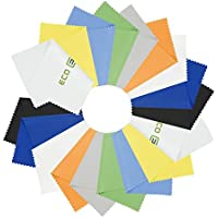Paños de Microfibra para Limpiar - 18 Paños Coloridos Incluyen 2 ECO-FUSED Paños - Ideal para la Limpieza de los Lentes, gafas, Lentes de Camara, iPad, Tabletas, Telefonos, iPhone, Android Phones, LCD Pantallas y Otras Superficies Delicadas.