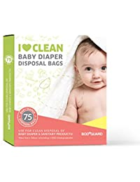 BodyGuard Baby Diaper Disposable Bags - 75 Bags - Oxo Biodegradable, Leak-Proof Bags for Discreet Disposal of Diapers and Intimate Sanitary Products
