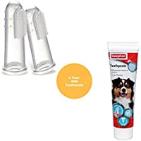 Cepillo de dientes y pasta de dientes para perros, con 2 cepillos de dientes para los dedos, también apto para gatos