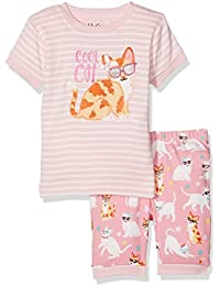 Hatley 100% Organic Cotton Short Sleeve Appliqué Set, Pyjamas Fille