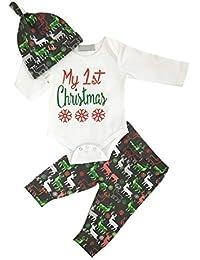 Baby Girl Christmas Outfit Newborn My First Christmas Mameluco de manga larga y pantalón y sombrero 3 piezas Set de ropa