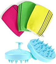 Korean Exfoliating Bath Washcloth 3 pcs with Hair Washing Brush, Hair Comb and Body Scalp Massager for Hair SP