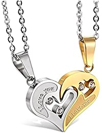 Yellow Chimes Heart Two Piece Stainless Steel Couple Pendant Set for Girls & Boys. Perfect for Couple!