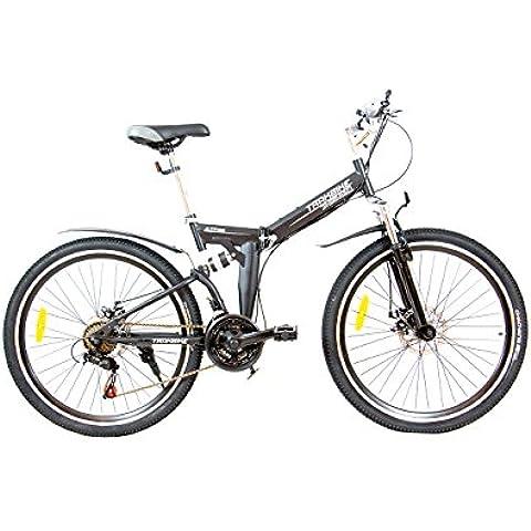 Trakbike Altitudine compatto pieghevole della bici di montagna della bicicletta | NERO | 21 SPEED SHIMANO | FRENI A DISCO - Montagna Della Bici Della Bicicletta