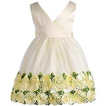 OBEEII Vestido de Princesa Floral Sin Mangas Vestidos de Fiesta Boda Ceremonia para Bebé Niñas 6