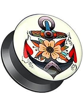 Paula & Fritz® Plug mit Schraubverschluss aus Acryl Anker mit Blumen 5mm – 16mm PAZ14