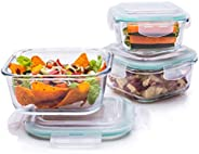 Signoraware Lock 'N' Store High Borosilicate Bakeware Safe Glass Container Square (320ml+520ml+800ml),