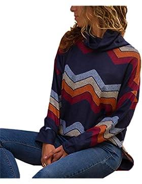 Otoño Mujeres Tops de Cuello Alto Manga Larga Sudaderas Jerséis Pulóver Primavera Moda Geometría Impresión Sweater...