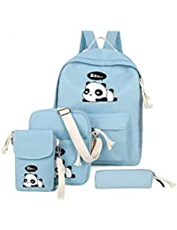 Shoponme 4pcs Set Canvas Women Backpack Girls Cute Panda Print Student  School Backpack Shoulder Teenagers 71d22a9a8b370