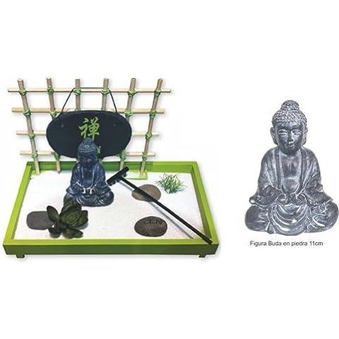 Jardin Zen Buda con Arena, Piedras, flor de loto, hierba y rastrilllo.