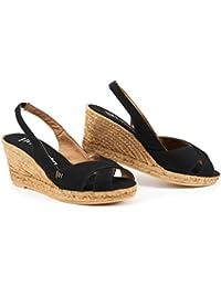 Zapatos de esparto VISCATA de cuña de 5 cm con elástico en la parte trasera,