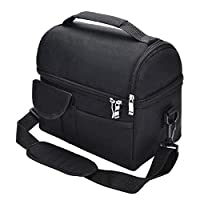 Black Lunch Bag Reusable Insulated Thermal Bag Women Men Multifunctional 8L Cooler And Warm Keeping Lunch Box Leakproof Waterproof