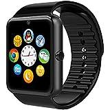YinoSino GT08 Smart Watch / Reloj inteligente GT08 (disponible en español) / Reloj Bluetooth / Reloj Android / Reloj para la salud con pantalla táctil y cámara, Tarjeta Sim y puerto para tarjeta TF, batería de larga duración en tiempo de espera para teléfonos smartphone Android y los dispositivos IOS de iPhone (Negro)